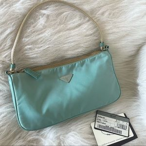 Authentic blue Prada mini pochette vintage bag